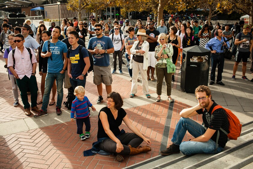 Spectators gather for a sing-along to honor the 50th anniversary of the Free Speech Movement at Sproul Plaza on the University of California, Berkeley campus, on Sept. 23, 2014.
