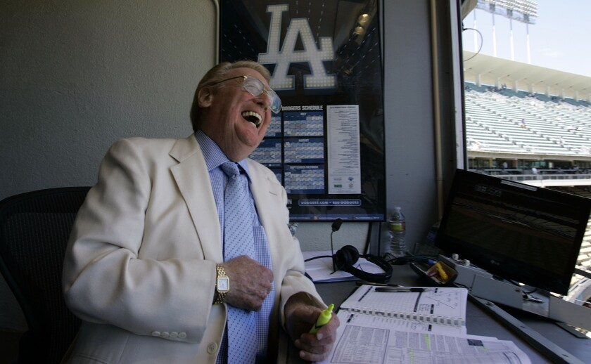 Vin Scully worked his final game at Dodger Stadium on Sunday. This weekend he finishes his Dodgers' broadcasting career calling the games in San Francisco.