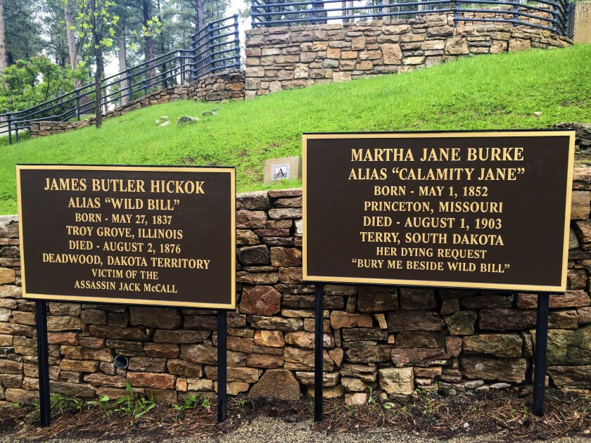 """The Mount Moriah Cemetery in Deadwood, S.D., where James """"Wild Bill"""" Hickok, and Martha """"Calamity Jane"""" Burke, are buried."""