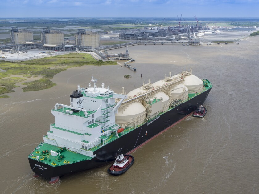 The first commissioned cargo of liquefied natural gas, or LNG, leaves the Cameron LNG facility in Hackberry, Louisiana, in May 2019.