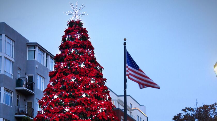 The 30-foot tall Little Italy Christmas Tree on India Street at Fir Street in Piazza Basilone is made out of more than 1,200 Poinsettias.