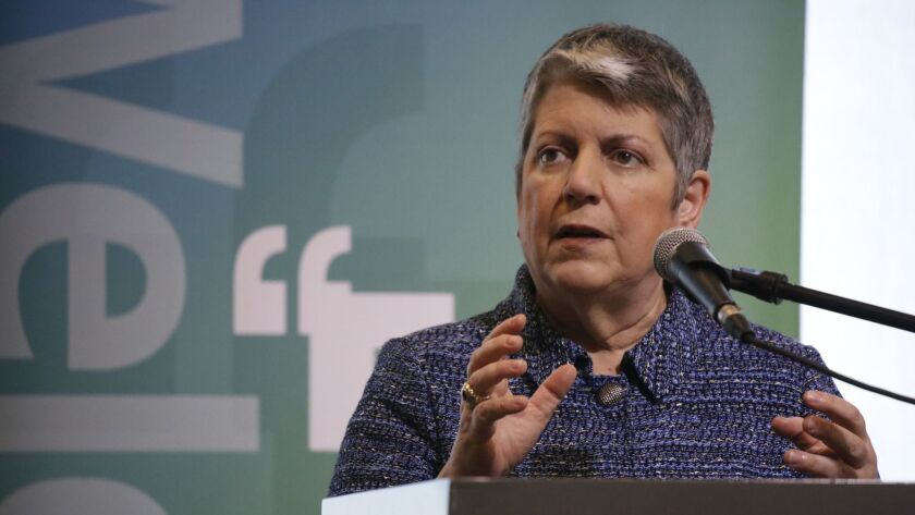 LOS ANGELES, CA - MARCH 19, 2018 - University of California President Janet Napolitano speaking on t