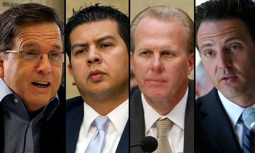 Mike Aguirre, David Alvarez, Kevin Faulconer and Nathan Fletcher