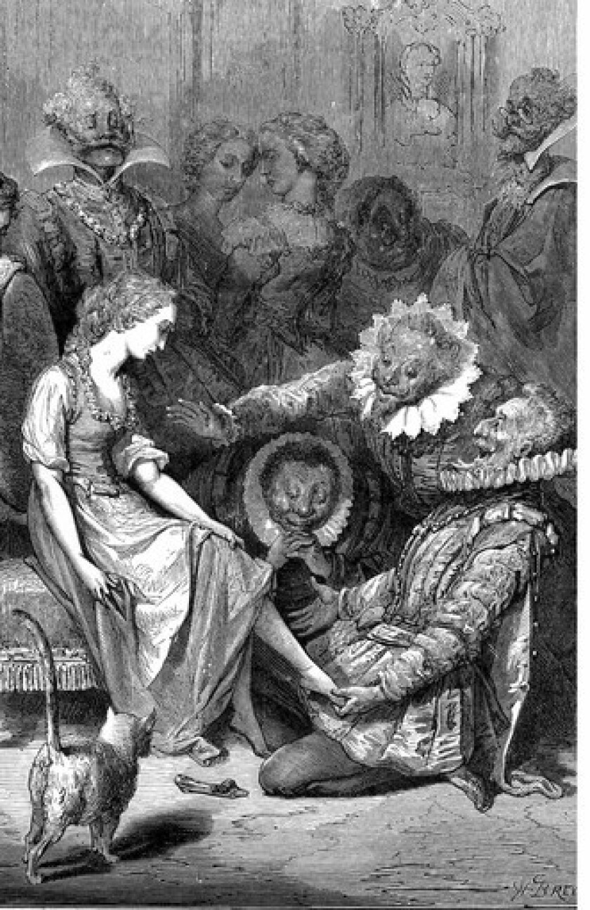 An engraving by Gustave Doré illustrates the Cinderella tale and captures Louis XIV's France.