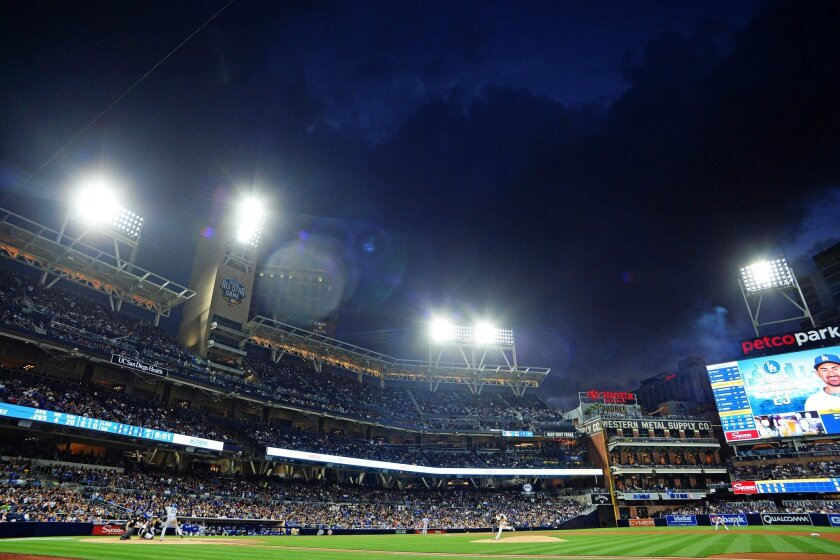 San Diego Padres starting pitcher Cesar Vargas (49) pitches to Los Angeles Dodgers first baseman Adrian Gonzalez (23) during the fourth inning at Petco Park.