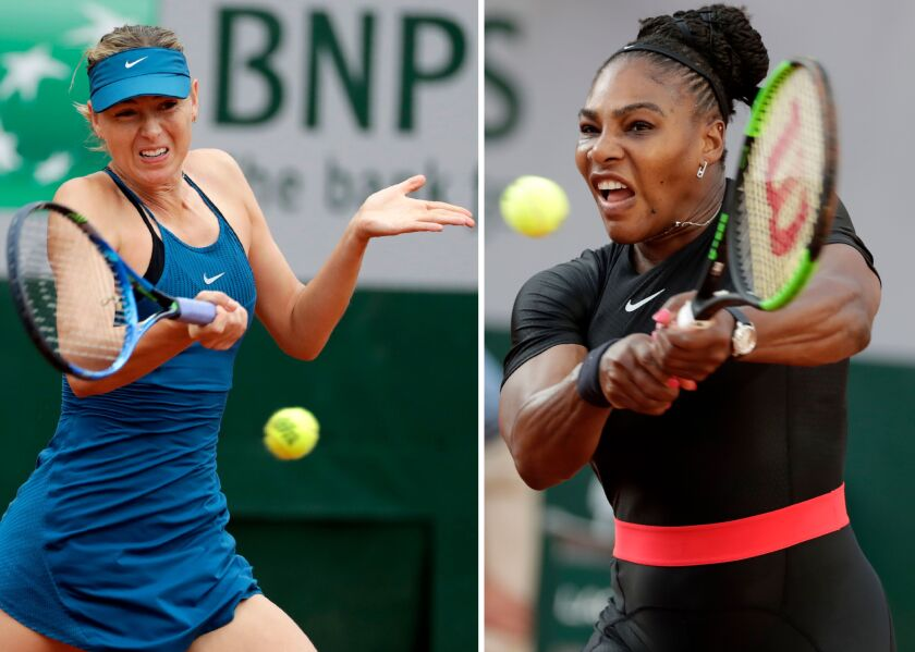 (COMBO/FILES) This combination of file photos created on June 3, 2018, shows Russia's Maria Sharapova (L) on May 29, 2018, and (R) Serena Williams of the US on June 2, 2018. Both during play in the French Open. - Williams will begin her quest for a seventh US Open title and record-tying 24th Grand Slam victory against Maria Sharapova in the US Open women's singles draw unveiled on August 22, 2019. Williams has dominated the Russian star in their head-to-head rivalry, winning 19 times with only two defeats, including their past 18 meetings, most recently at the 2016 Australian Open quarter-finals. (Photo by Thomas SAMSON / AFP)THOMAS SAMSON/AFP/Getty Images ** OUTS - ELSENT, FPG, CM - OUTS * NM, PH, VA if sourced by CT, LA or MoD **