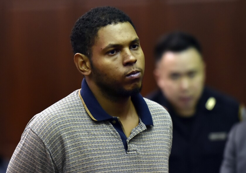 Randy Santos is arraigned in criminal court for the murder of four homeless men, Sunday, Oct. 6, 2019, in New York. He was ordered held without bail. (Rashid Umar Abbasi/New York Post via AP, Pool)