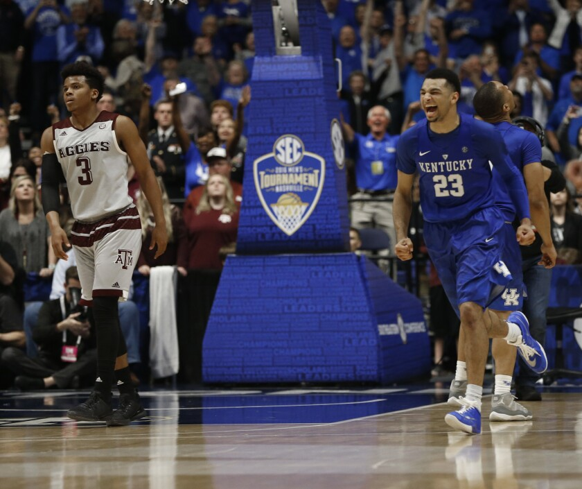 No. 16 Kentucky beats No. 17 Texas A&M, 82-77, in overtime of SEC championship game
