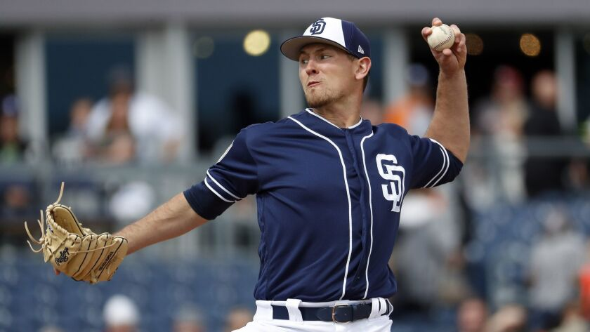 Padres pitcher Nick Margevicius throws against the Giants during a spring training game.