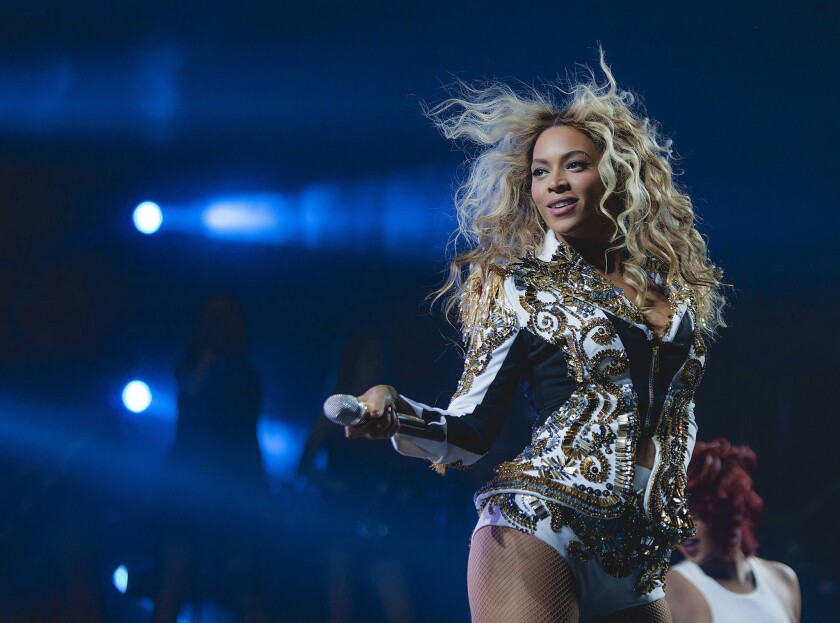 "Beyonce performs onstage at her ""Mrs. Carter Show World Tour 2013"" at the Barclays Center in Brooklyn, New York."