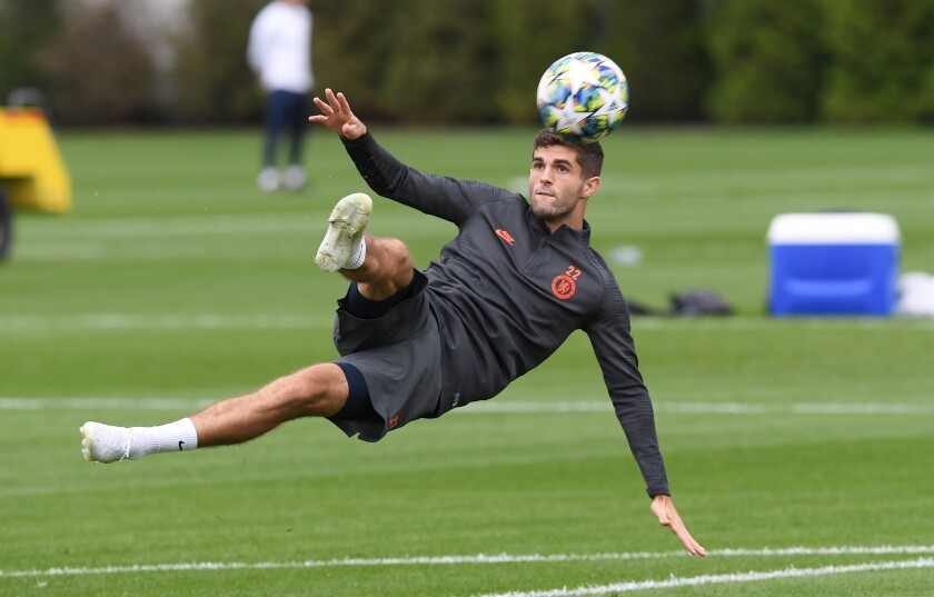 Christian Pulisic trains with Chelsea on Sept. 16 in Cobham, England.