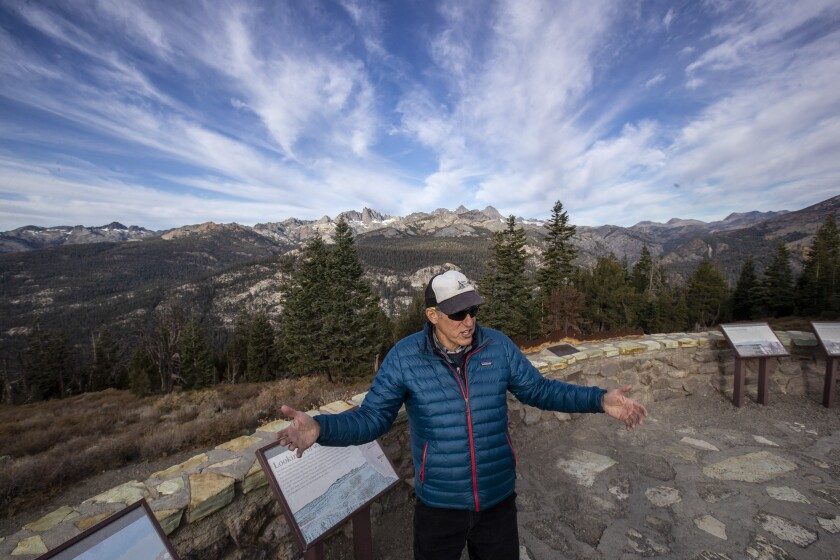 Mammoth Lakes Councilman John Wentworth, who is president of Mammoth Lakes Trails and Public Access, talks about sustainable recreation and tourism in the Eastern Sierra at Minaret Vista in Mammoth Lakes.