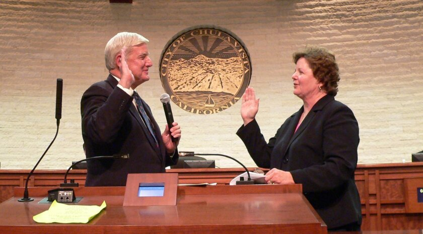 Greg and Cheryl Cox have devoted their lives to public service. She swore him into office in January, 2013 after he was re-elected as county supervisor. While he was at the office and she was performing charity work, their home in Chula Vista was burglarized in March. [U-T file]