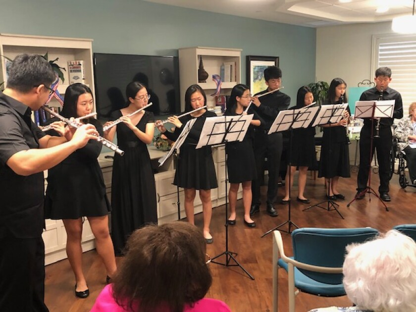 Klassic Art Students perform Sept. 22, 2019 for a National Centenarian Day event held at the senior living community, Vi at La Jolla Village.