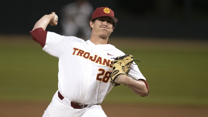 USC pitcher Kyle Hurt during an NCAA college baseball game against Oklahoma State on March 8, 2019.