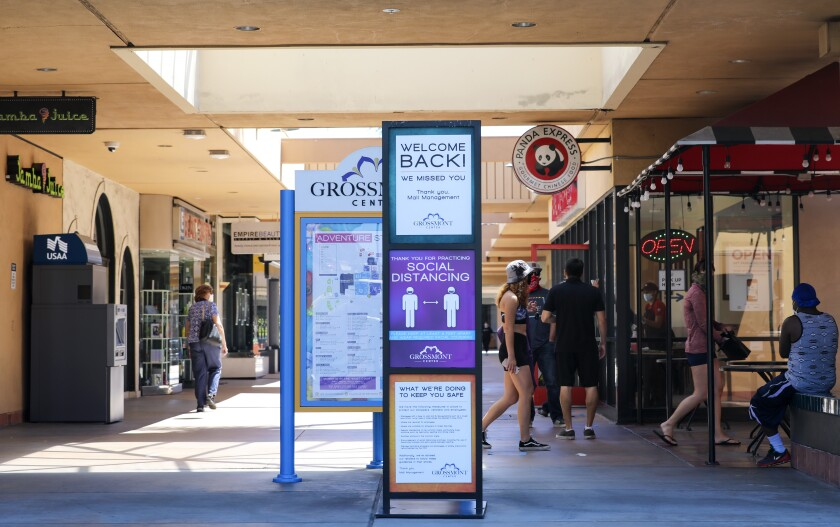 The Grossmont Center outdoor shopping mall in La Mesa, Calif., is shown after its May reopening.