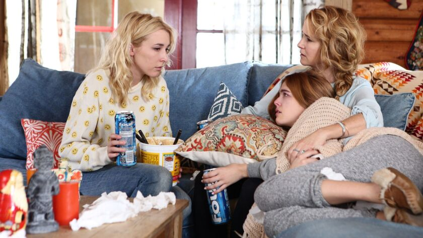 "(L-R) Madelyn Deutch, Lea Thompson and Zoey Deutch in ""The Year of Spectacular Men"" movie."