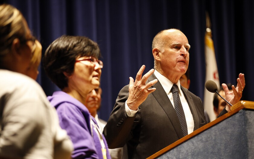 California Gov. Jerry Brown speaking in Los Angeles last week. On Monday, he signed a bill boosting paid family leave benefits.