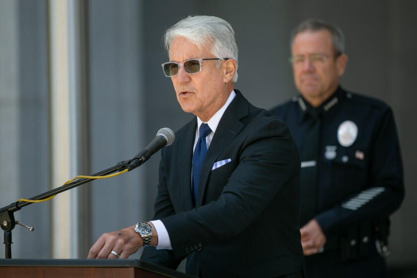 Los Angeles County Dist. Atty. George Gascón with LAPD Chief Michel Moore on June 30.