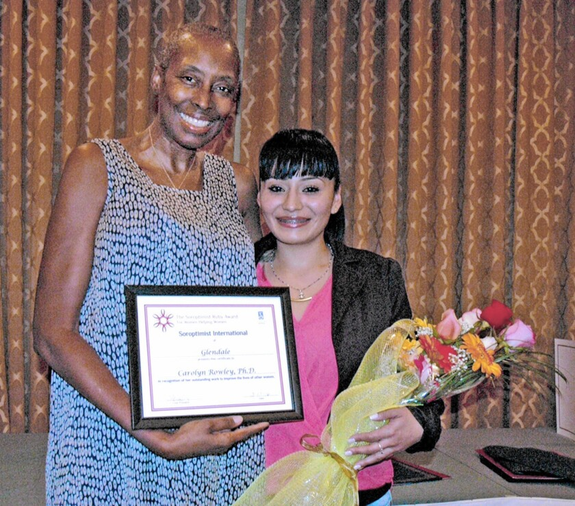 Soroptimist International of Glendale Rudy Award recipient Carolyn Rowley and Live Your Dream Award recipient Star