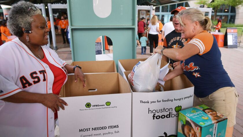 Donations for victims of Tropical Storm Harvey were collected at Minute Maid Park, where the Houston