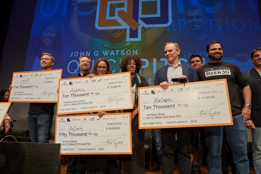 Quick Pitch awarded $75,000 to entrepreneurs competing in its annual startup competition Tuesday night at Qualcomm Hall.