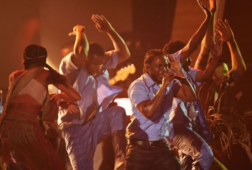 Kendrick Lamar performs at the Grammy Awards.
