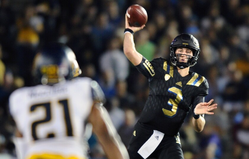 UCLA quarterback Josh Rosen passed for 399 yards with a record 34 completions against California on Oct. 22 at the Rose Bowl.