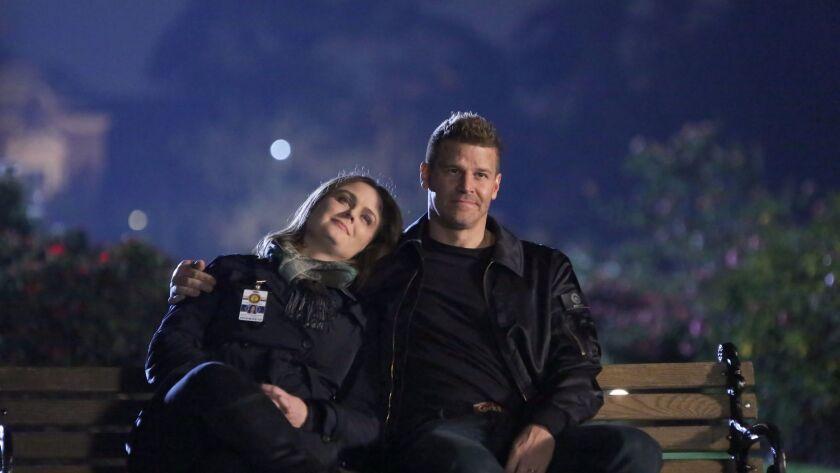"Emily Deschanel and David Boreanaz in the final episode of ""Bones."""