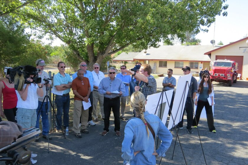 Members of the County Planning Commission during a tour of the Lilac Hills Ranch area recently.