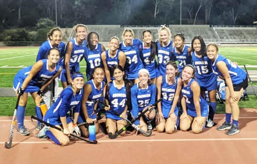 Rancho Bernardo High's field hockey team.