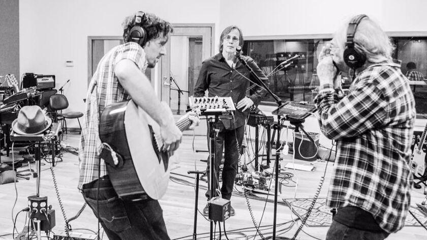 Jason Mraz (left), Jackson Browne and Joel Rafael rehearse in Los Angeles for their Nov. 27 Standing Rock benefit concert in North Dakota.