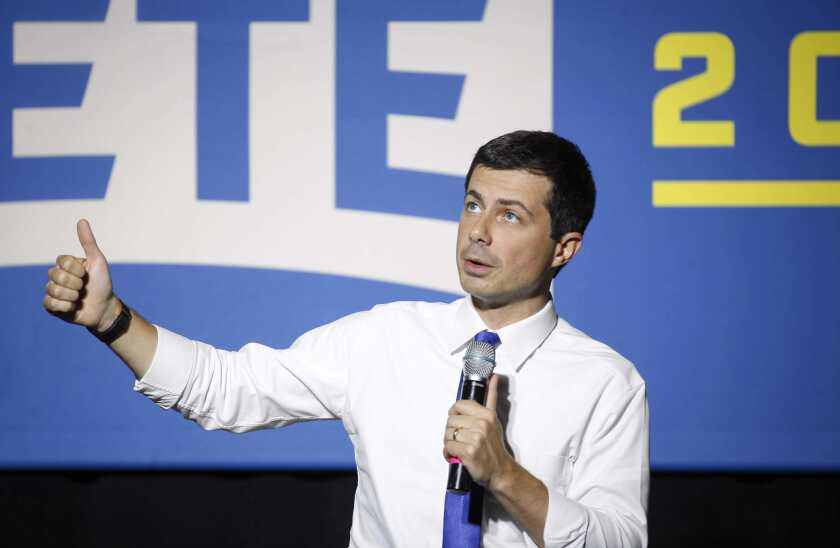 Democratic presidential candidate Pete Buttigieg speaks to supporters at Iowa State University during a town hall style meeting on Oct. 16 in Ames, Iowa.