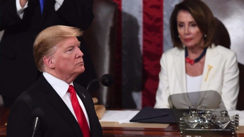 President Trump and House Speaker Nancy Pelosi during Trump's State of the Union Address last week.