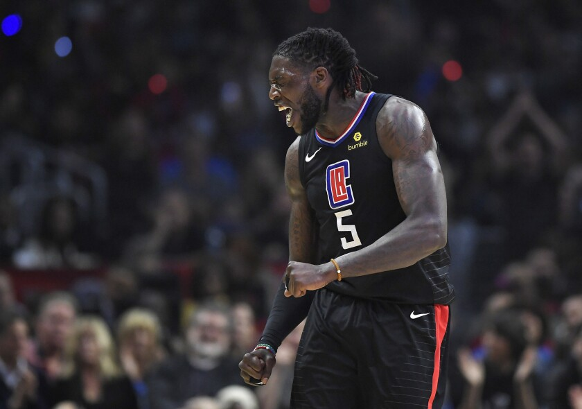 Clippers center Montrezl Harrell celebrates during a game last season.