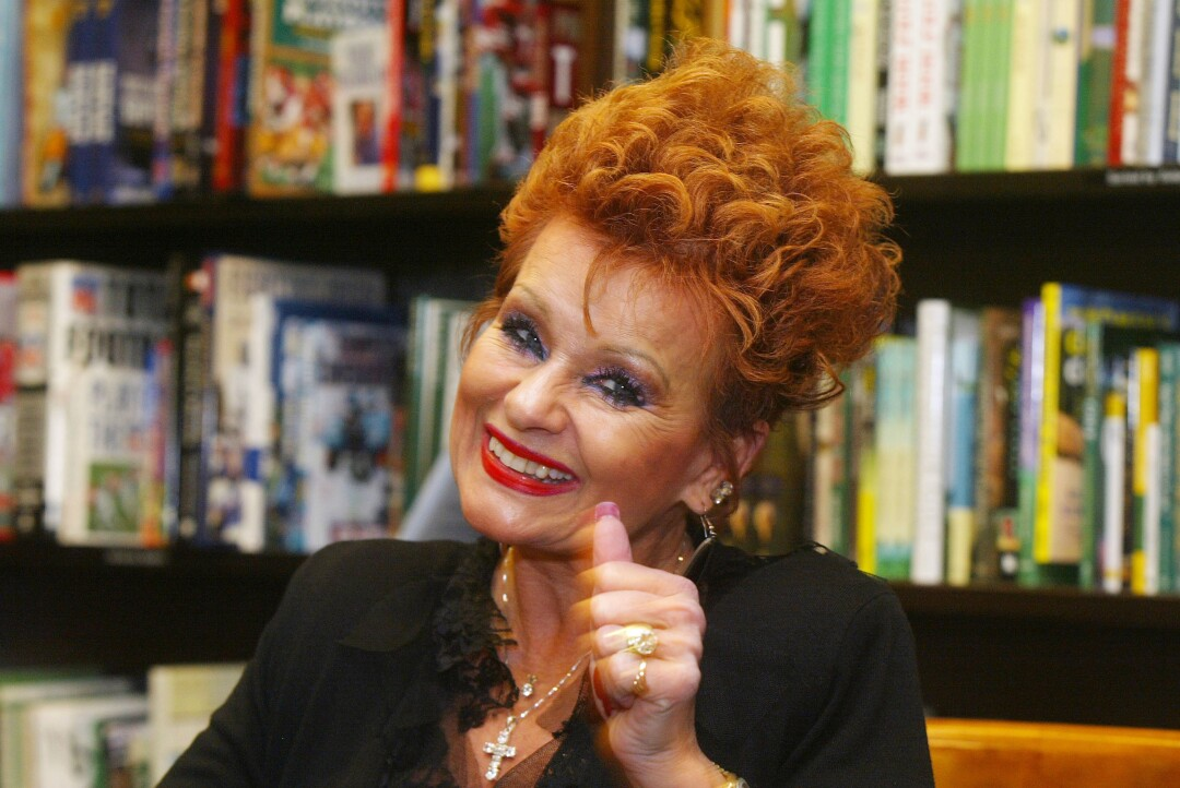 Televangelist Tammy Faye Bakker gives a thumbs up