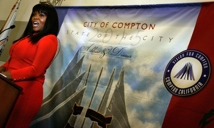 Compton Mayor Aja Brown delivers her State of the City address in July.