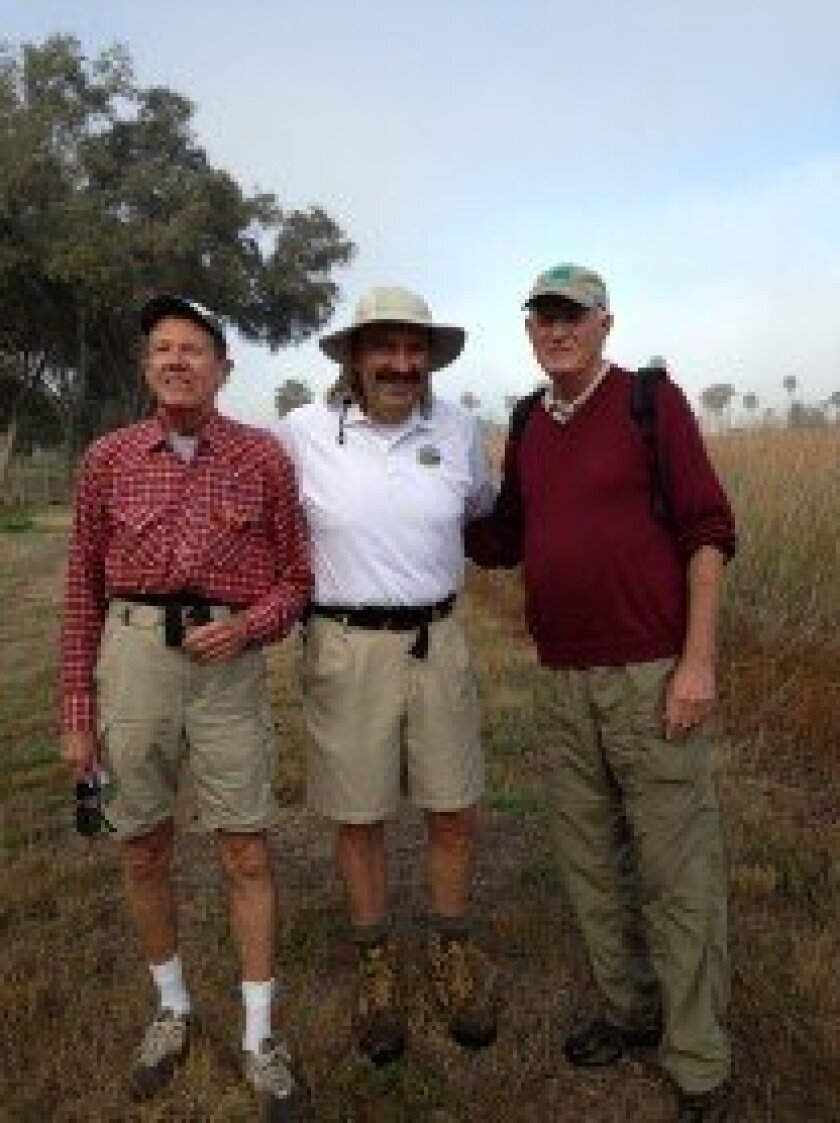 Bill Simmons of the San Dieguito River Valley Conservancy board with San Dieguito River Park Board chair Jim Cunningham and Dick Bobertz, executive director of the river park on the last day of the hike, Feb. 11.