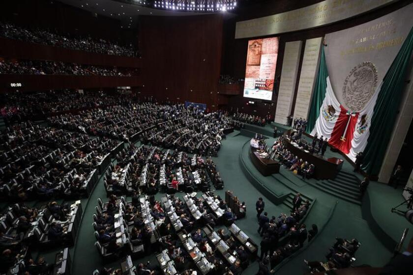 Vista general de la ceremonia de investidura del izquierdista Andrés Manuel López Obrador hoy, en la sede de la Cámara de Diputados, teniendo como testigos a diputados y senadores en una sesión conjunta del Congreso, en Ciudad de México (México). EFE