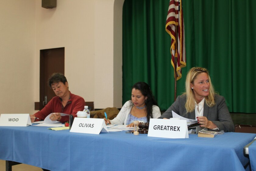 (l to r): David Woo, Sonia Marie Olivas and Cindy Greatrex during La Jolla Town Council's May meeting, shortly after Greatrex took over as president.
