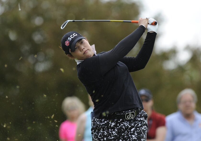 Ariya Jutanugarn, of Thailand, hits from the second tee during the final round of the LPGA Volvik Championship golf tournament at the Travis Pointe Country Club, Sunday, May 29, 2016 in Ann Arbor, Mich. (AP Photo/Jose Juarez)