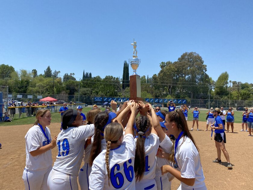 El Camino Real softball players celebrate a 17th City Section title.