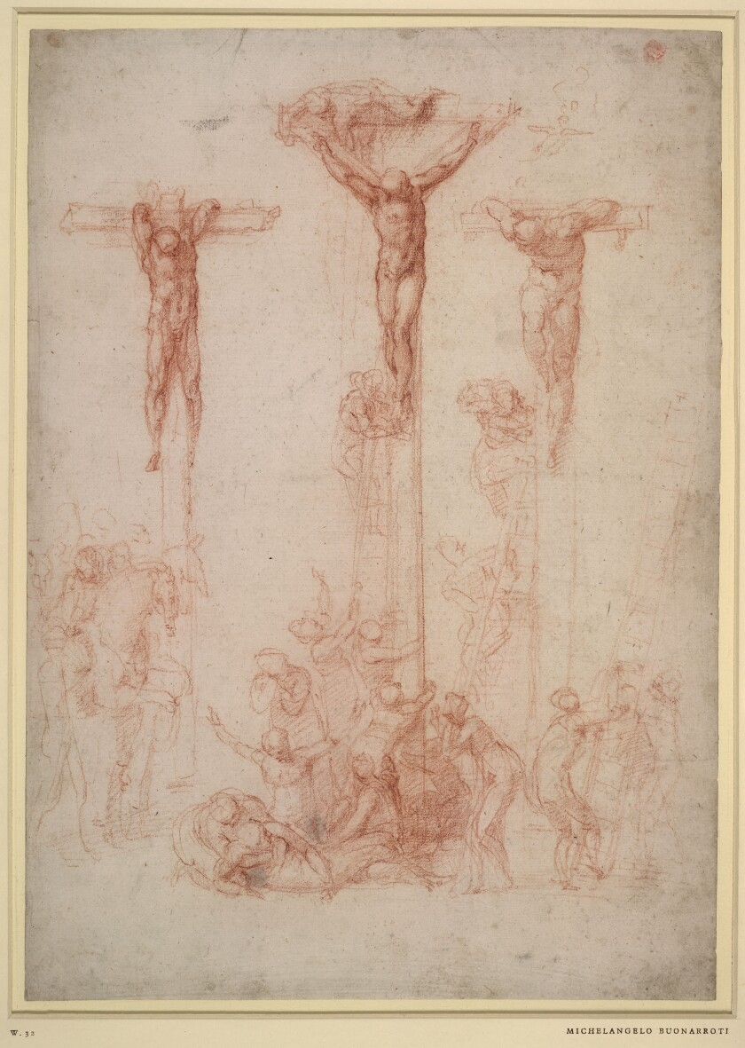Michelangelo, The Three Crosses, c. 1520, red chalk and wash