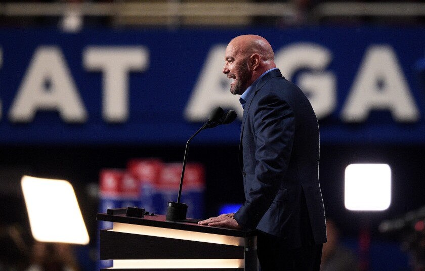 CLEVELAND, OH - JULY 19: UFC President Dana White delivers a speech on the second day of the Republican National Convention on July 19, 2016 at the Quicken Loans Arena in Cleveland, Ohio. Republican presidential candidate Donald Trump received the number of votes needed to secure the party's nomination. An estimated 50,000 people are expected in Cleveland, including hundreds of protesters and members of the media. The four-day Republican National Convention kicked off on July 18. (Photo by Jeff Swensen/Getty Images) ** OUTS - ELSENT, FPG, CM - OUTS * NM, PH, VA if sourced by CT, LA or MoD **