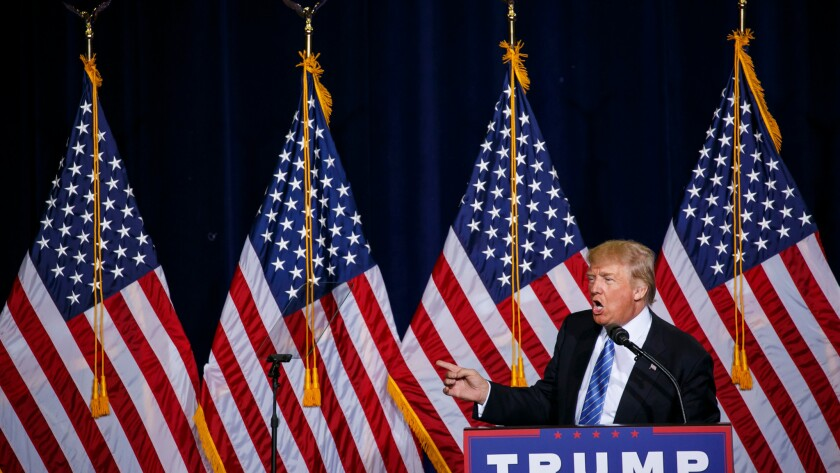 Donald Trump delivers his immigration speech at a rally in Phoenix on Aug. 31, 2016.