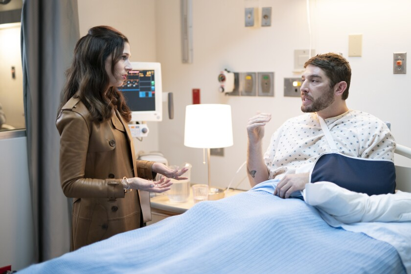 "Shoshannah Stern, left, as Kate and Josh Feldman as Michael in the second season premiere of their Sundance TV series, ""This Close."""
