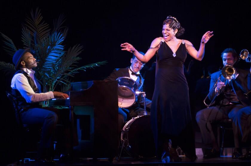 """Brandon Victor Dixon, at piano, and Audra McDonald in """"Shuffle Along."""""""