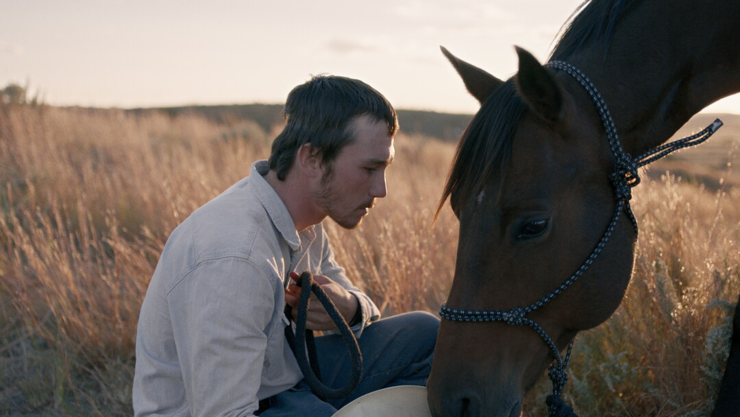 """Brady Jandreau with a horse in """"The Rider."""""""
