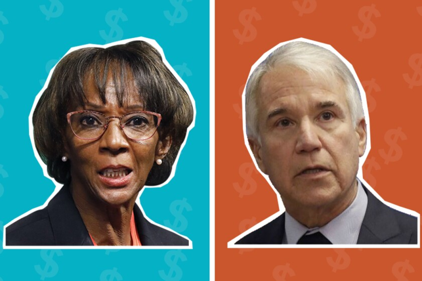 Incumbent Jackie Lacey and challenger George Gascón are in the race for Los Angeles County district attorney.