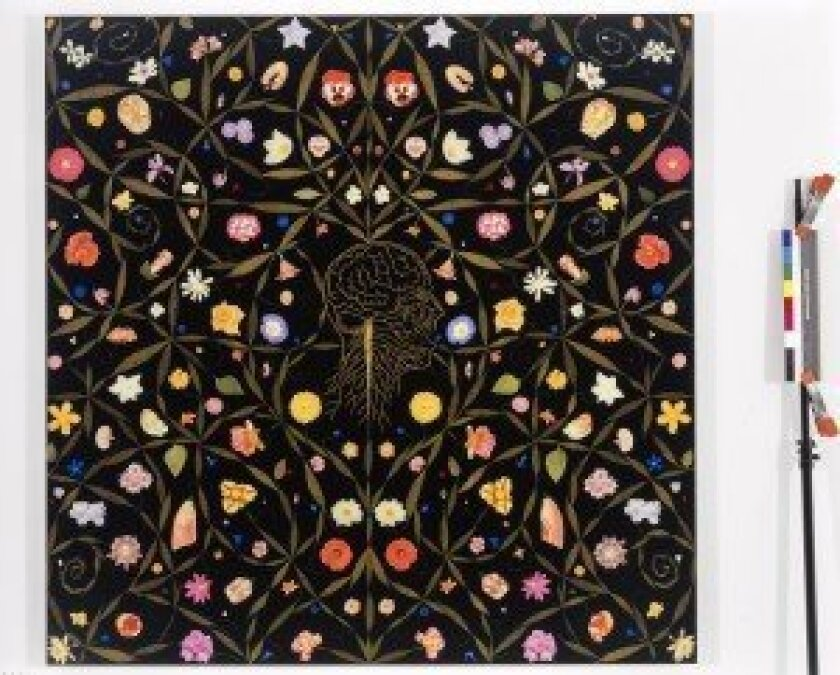 Fred Tomaselli's 1996 composition 'Head with Flowers' is in the permanent collection of the Museum of Contemporary Art San Diego. Courtesy MCASD